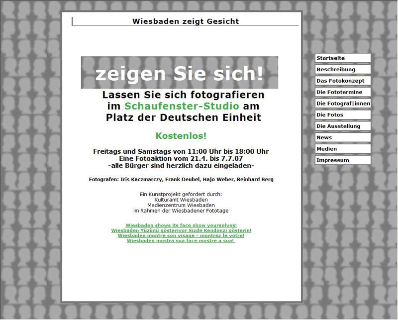 Webdesign für das Kunstprojekt Wiesbaden zeigt Gesicht