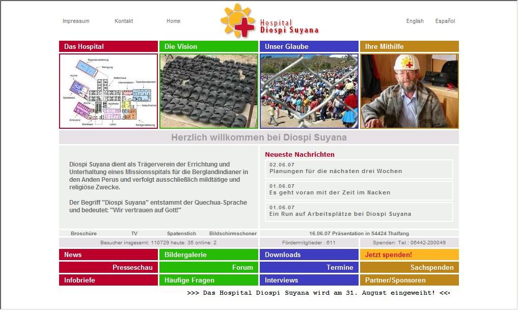 Webdesign für ein Hospital in den Anden - Diospi Suyana