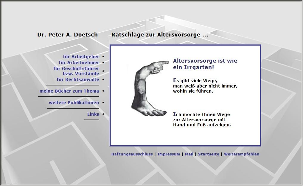 Webdesign für Dr. Peter A. Doetsch - Ratschläge zur Altersvorsorge