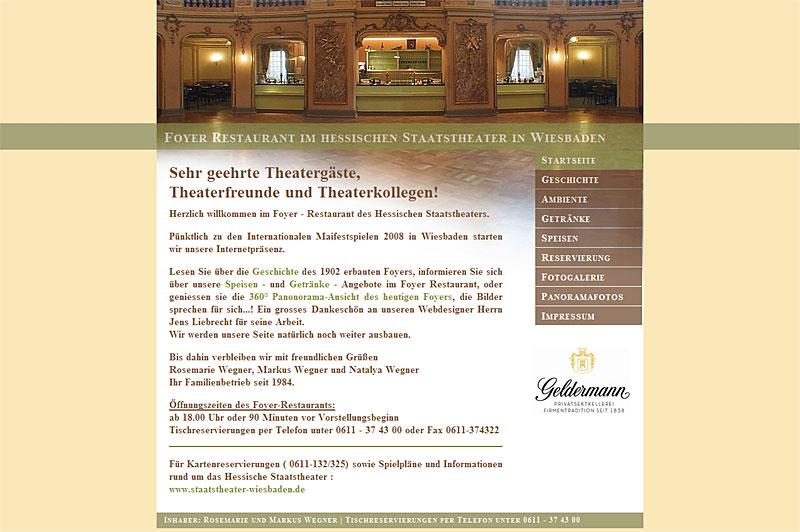 Webdesign für Foyer Restaurant im hessischen Staatstheater in Wiesbaden