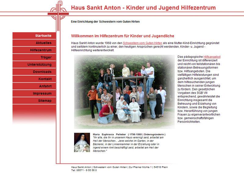 Webdesign für Haus Sankt Anton der Schwestern vom guten Hirten