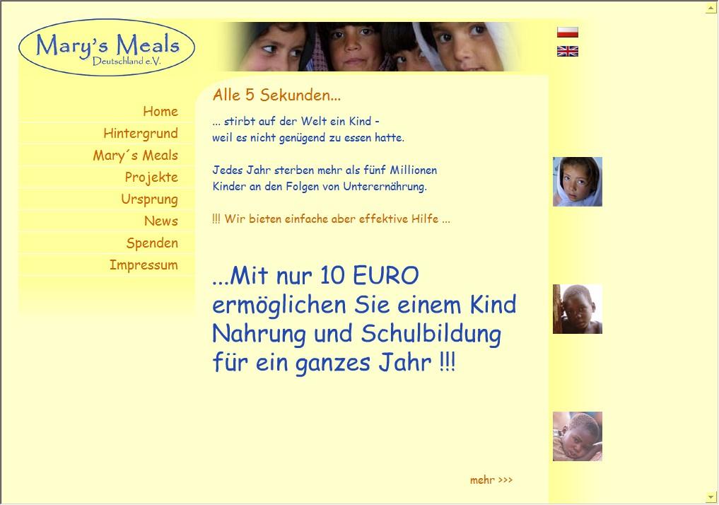 Webdesign für Mary´s Meals Deutschland