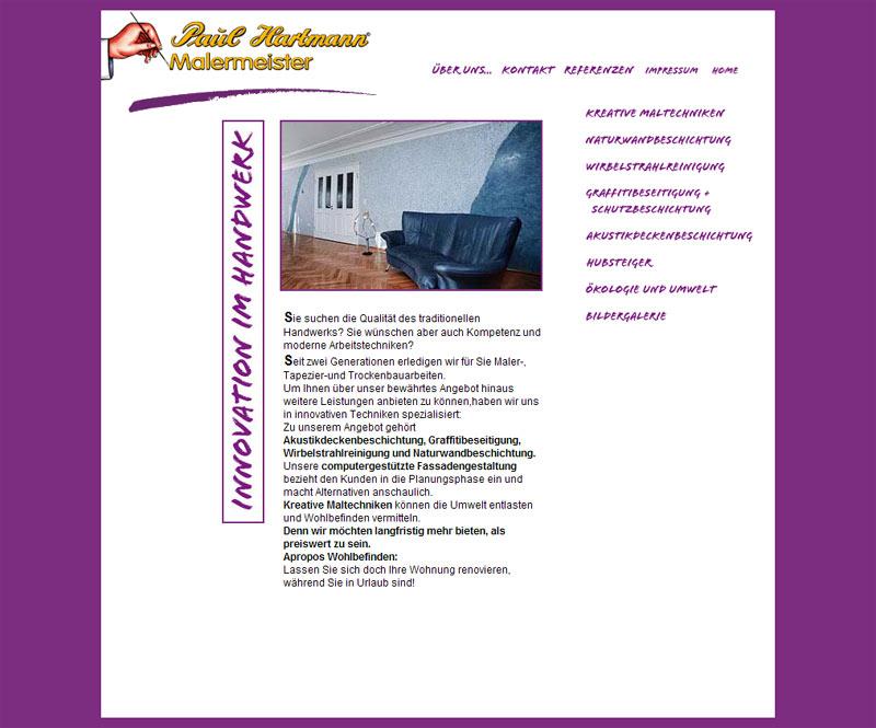 Webdesign für Malermeister Paul Hartmann